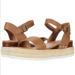 NEW Steve Madden Tan Leather Wedge Sandal
